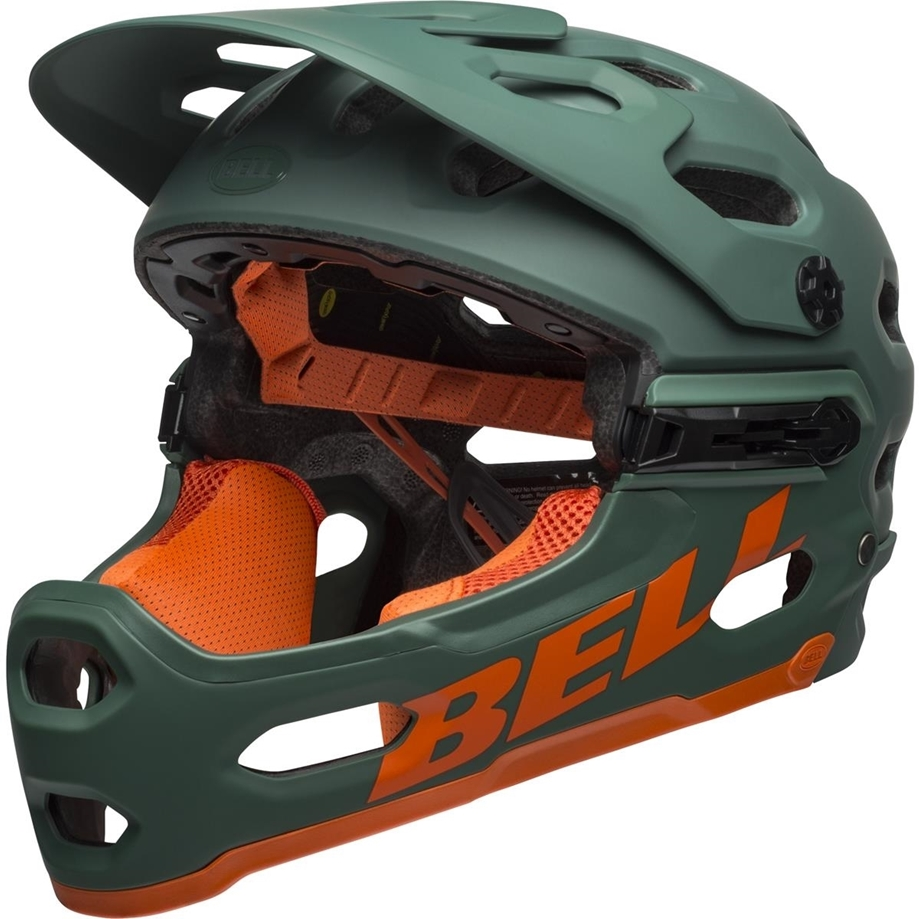 Slika ČELADA BELL SUPER 3R MIPS MAT DARK GREEN/ORANGE  MAT CRIMSON/BLACK
